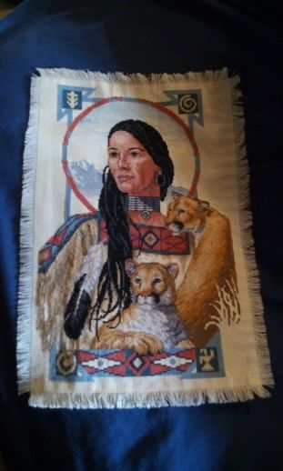 Indian Maid with Cougar Cross Stitch